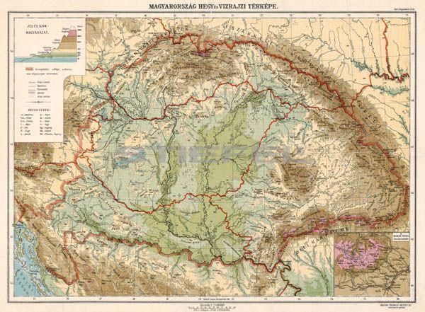 vízrajzi térkép Magyarország hegy  és vízrajzi térképe fakeretben vízrajzi térkép
