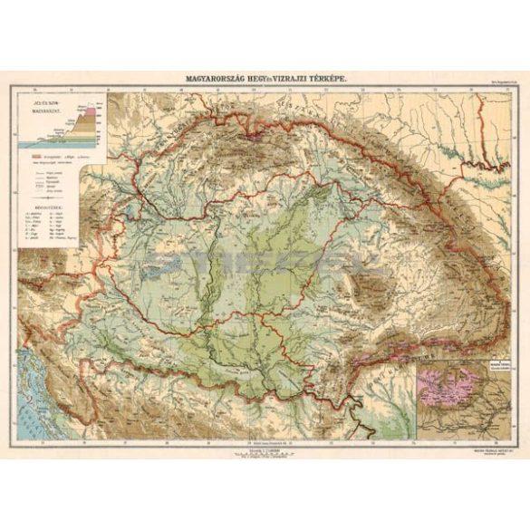 Magyarország hegy- és vízrajzi térképe fakeretben