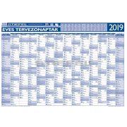 Éves tervezőnaptár 2019 100x70 cm fémléces ajándék kék színű filctollal
