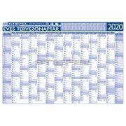 Éves tervezőnaptár (14 havi)/Éves projektnaptár 2020 (12 havi) kétoldalas 100x70, ajándék kék színű filctollal