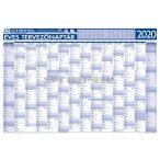 Éves tervezőnaptár (14 havi)/Éves projektnaptár 2020 (12 havi) kétoldalas, fémléces 100x70, ajándék kék színű filctollal