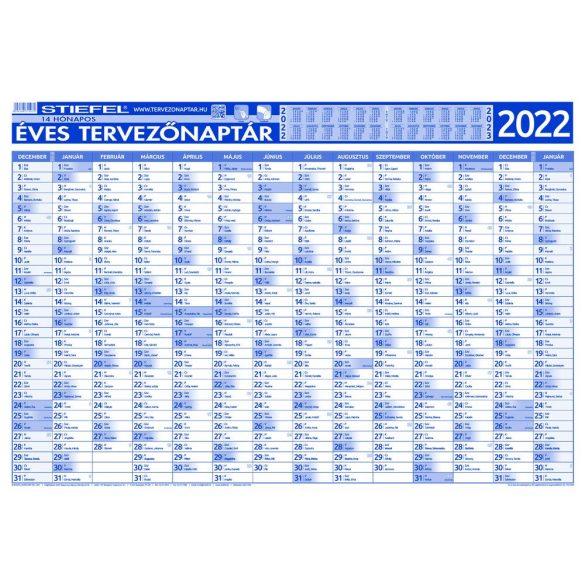 Éves tervezőnaptár 2022 140x100 cm fémléces ajándék kék színű filctollal