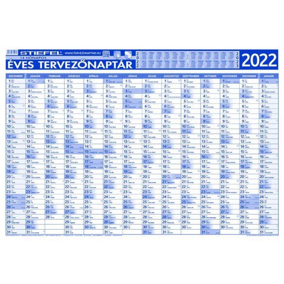 Éves tervezőnaptár (14 havi)/Éves projektnaptár 2022 (12 havi) kétoldalas, fémléces 100x70, ajándék kék színű filctollal