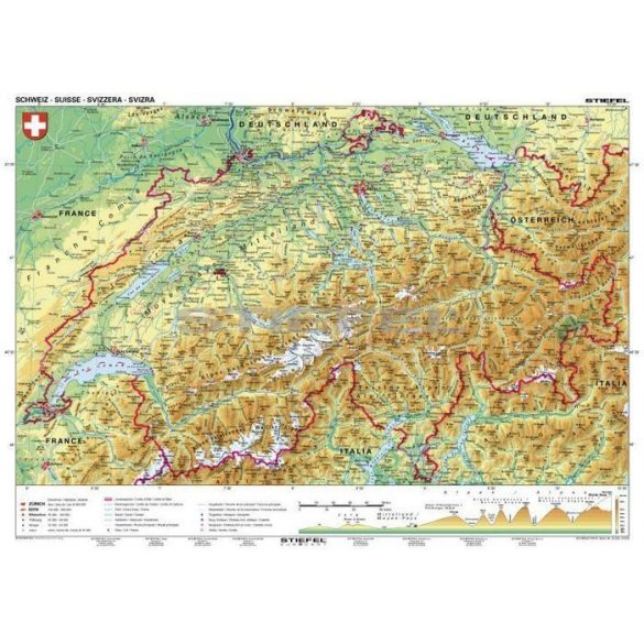 Svájc, domborzati (német nyelvű)