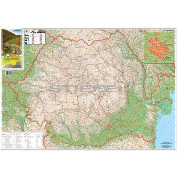 Románia autótérkép, hajtogatott, puhaborítós