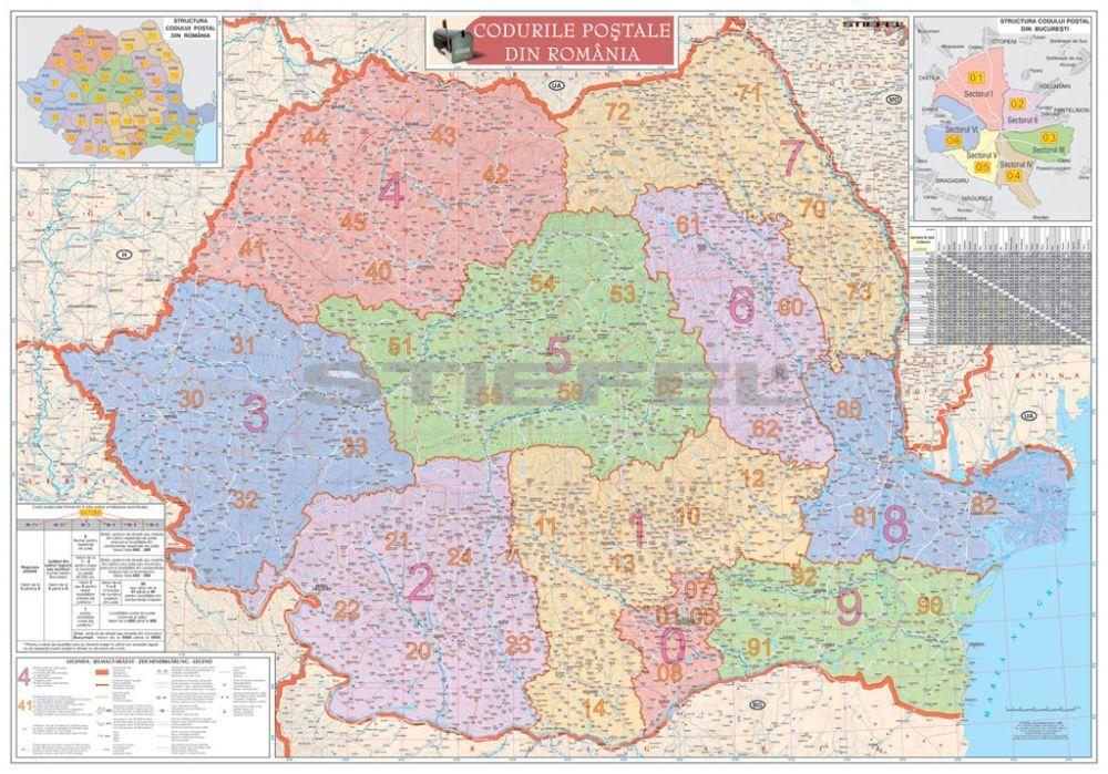 románia térkép Románia irányítószámos térképe, tûzhető, keretes