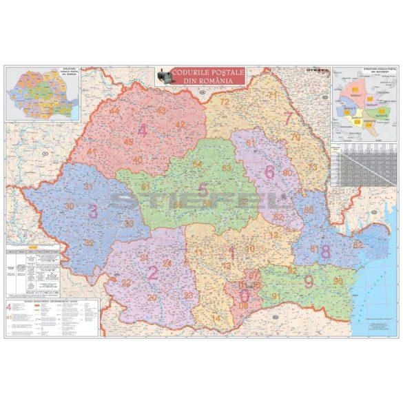Románia irányítószámos térképe, tűzhető, keretes