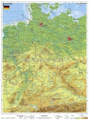 németország domborzati térkép Németország, domborzati + vaktérkép DUO (német nyelvû) németország domborzati térkép