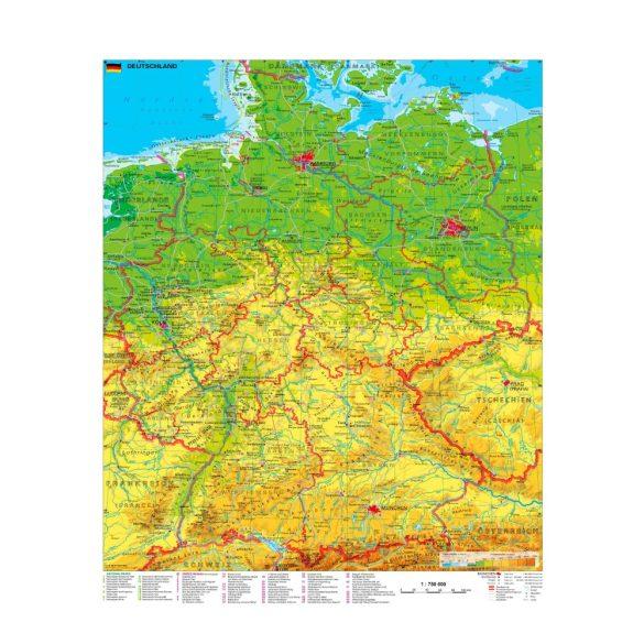 Németország turisztikai fémléces térkép (német nyelvű)
