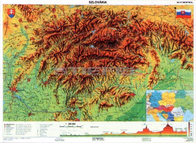 szlovákia domborzati térkép Szlovákia, domborzati + vaktérkép DUO szlovákia domborzati térkép