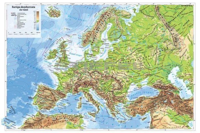 Europa Domborzata Terkep Wandi