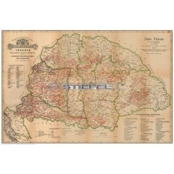 Régi Magyarország 1876 borászati térkép könyöklő