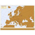 Európa kaparós térkép magyar nyelvű fémléces, arany színű