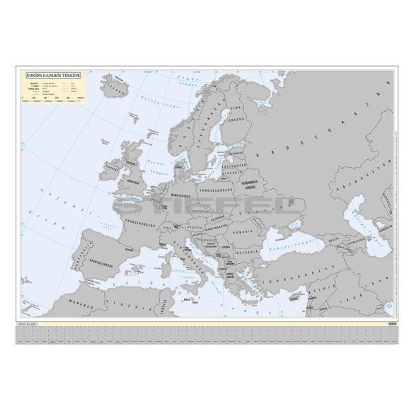 Európa kaparós térkép magyar nyelvű keretezett, ezüst színű