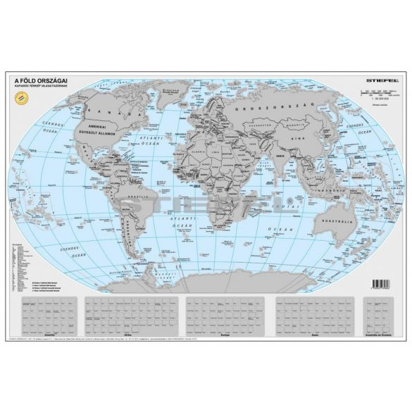Föld kaparós térkép ezüst bevonattal magyar nyelvű poszter