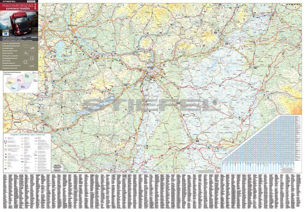 kamionos térkép magyarország Magyarország kamionos térképe (fóliás fémléces)