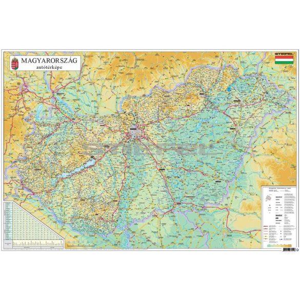 Magyarország közigazgatása és közlekedése keretezett térkép