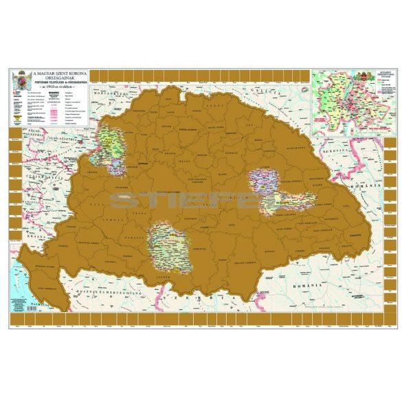 Magyar Szent Korona Országai kaparós térkép poszter arany bevonattal