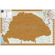 Magyar Szent Korona Országai kaparós keretezett térkép arany bevonattal