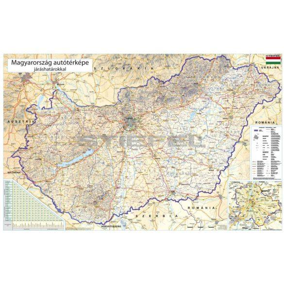 Magyarország autótérképe járáshatárokkal falitérkép fémléces