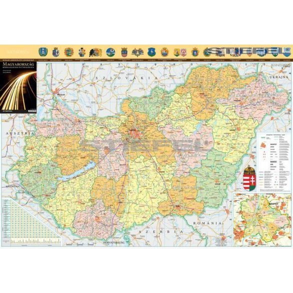 Magyarország közigazgatása és úthálózat hajtogatott térkép