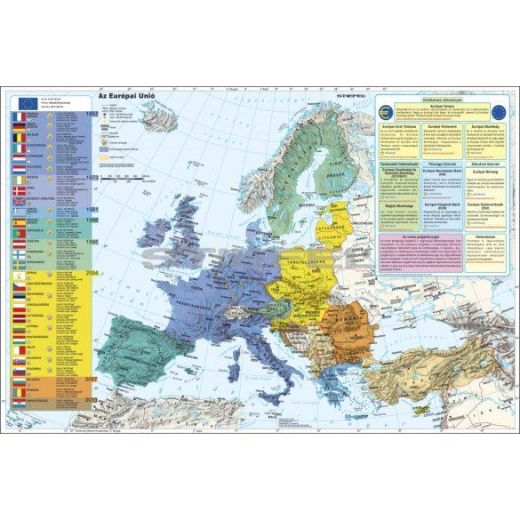 Az Európai Unió (a tagok és tagjelöltek zászlóival) fémléces térkép