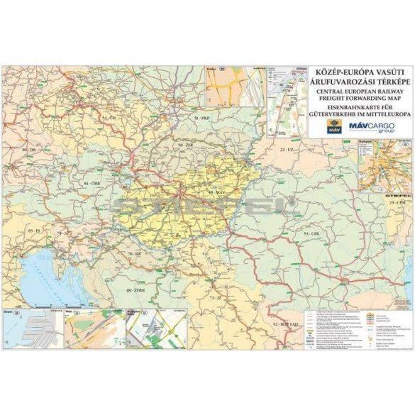 Közép-Európa vasúti térképe, tűzhető, keretes
