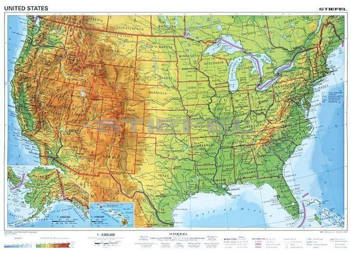 usa domborzati térkép USA, domborzati + politikai DUO (angol)