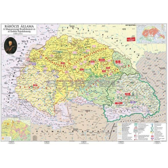 Rákóczi állama és a szabadságharc fémléces térkép