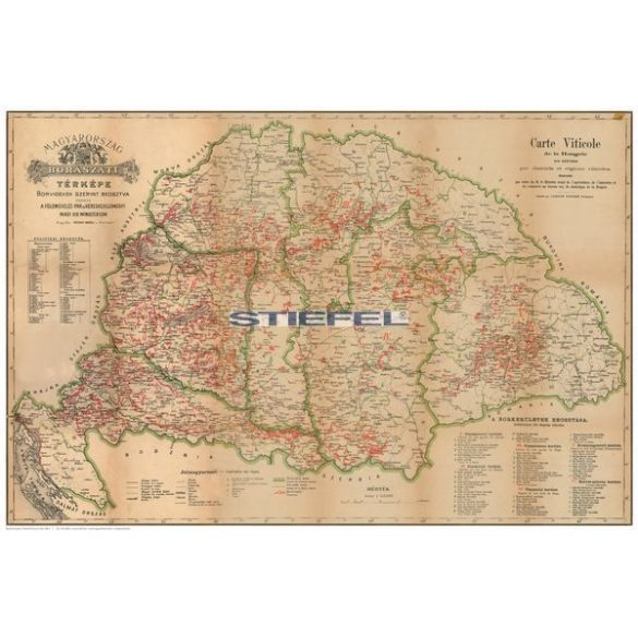 Régi Magyarország 1876 borászati térképe keretezett