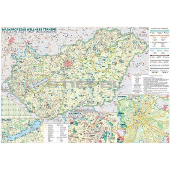 Magyarország wellness térképe, tűzhető, keretes