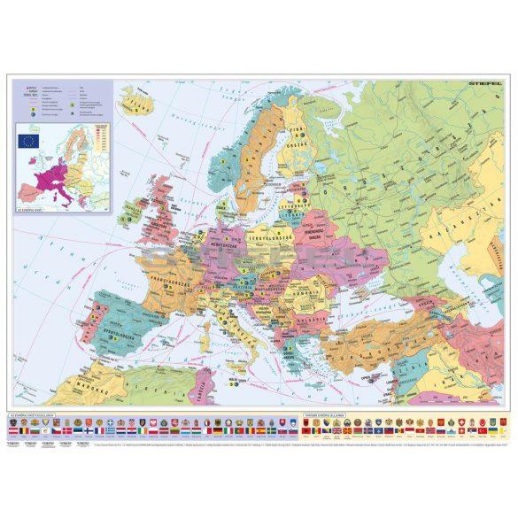 Európa országai és az Európai Unió térképe (keretezett)