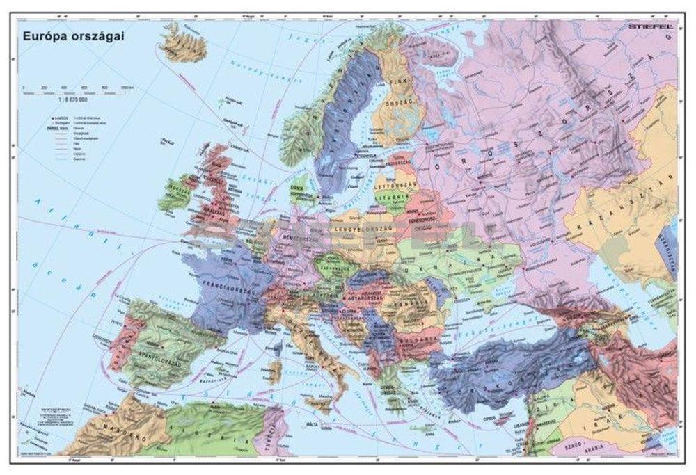 Europa Orszagai Tuzheto Keretezett Terkep