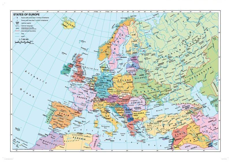 európa térkép Európa országai angol nyelvű térkép fémléccel