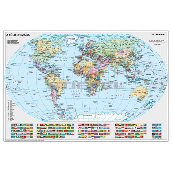 A Föld politikai, zászlókkal (fóliázott-lécezett falitérkép)