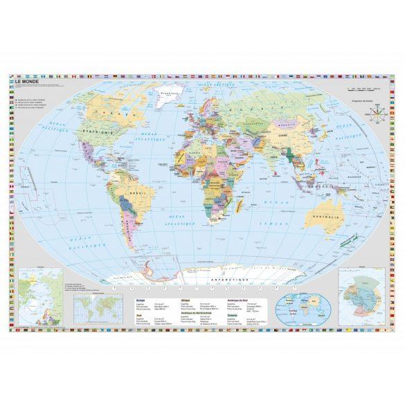 Föld országai francia nyelvű térkép fémléccel