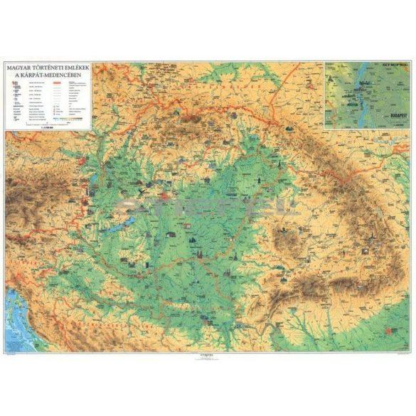 Magyar történeti emlékek a Kárpát-medencében, tűzhető, keretezett térkép