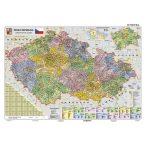 Csehország közigazgatása térkép, fóliázott, fémléces
