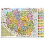 Lengyelország közigazgatása térkép, fóliás-fémléces