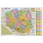Lengyelország közigazgatása térkép, keretezett, tűzhető