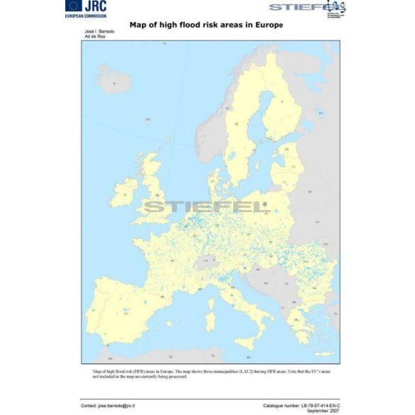 Magas árvízkockázati területek Európában térkép fémléces