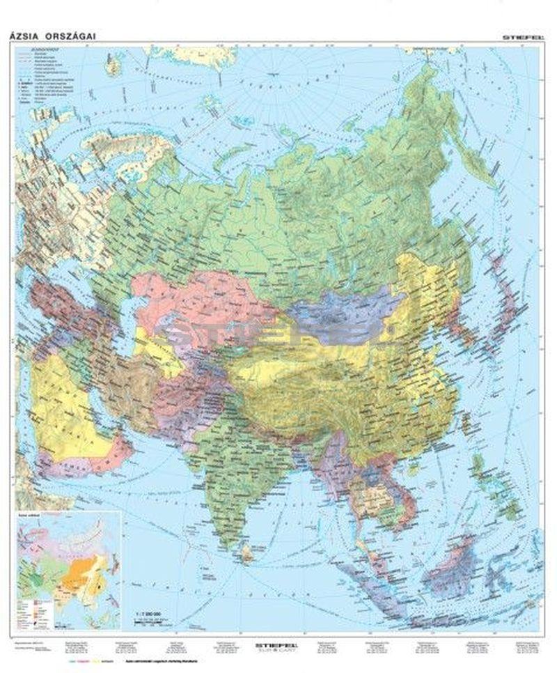 ázsia térkép Ázsia, domborzati + politikai kétoldalas óriás térkép poszter