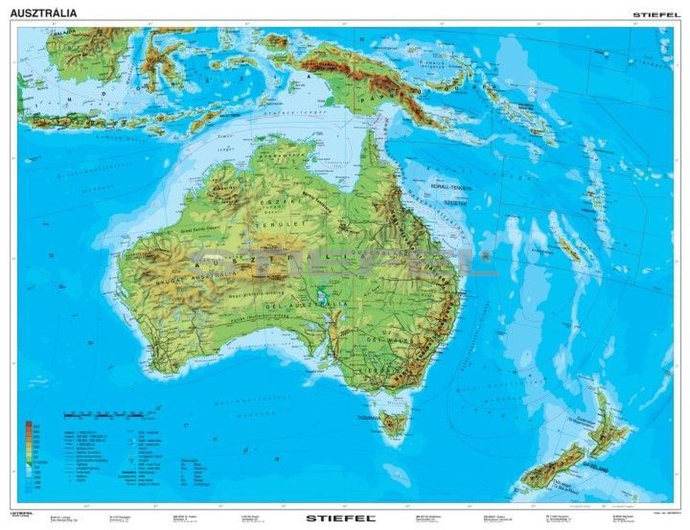 ausztrália térkép Ausztrália és Óceánia domborzata + vaktérkép DUO