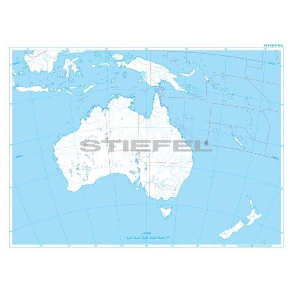 Ausztrália és Óceánia domborzata + vaktérkép DUO