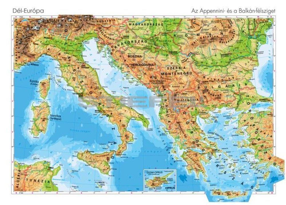 dél európa térkép Dél Európa domborzata kétoldalas óriás poszter dél európa térkép