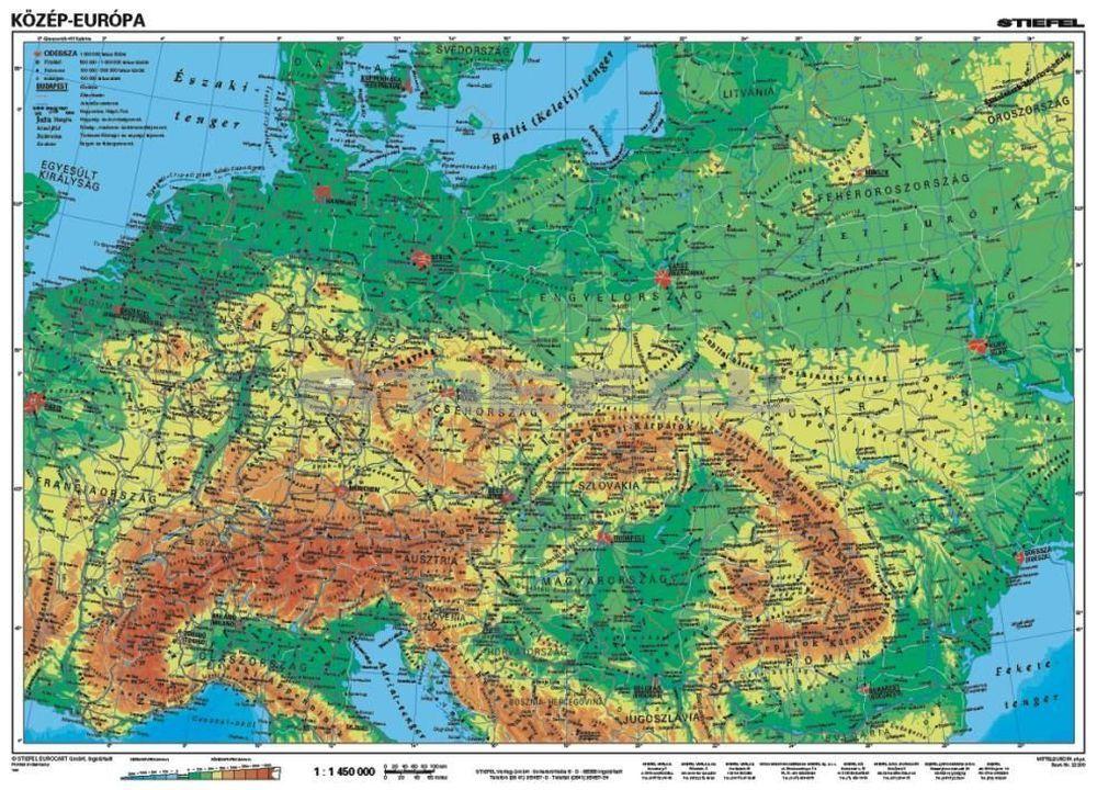 közép európa térkép Közép Európa, domborzati + vaktérkép DUO