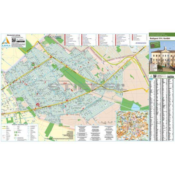 Budapest XVI. kerületi fémléces térképe