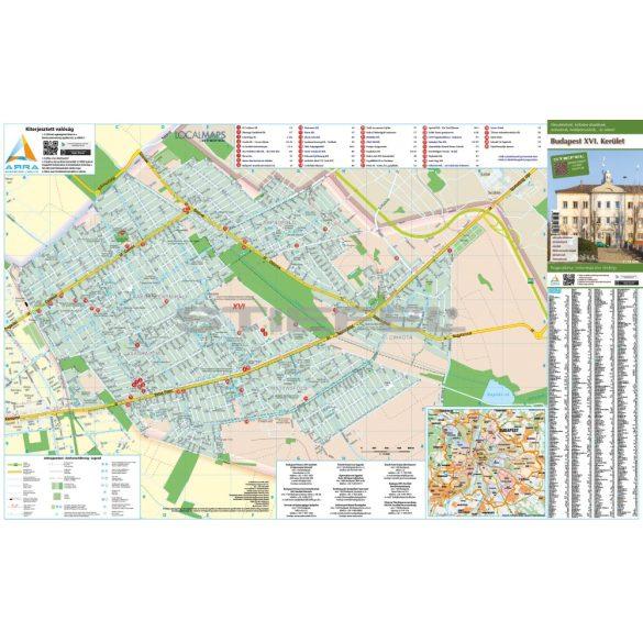 Budapest XVI. kerület tűzhető, keretezett térképe