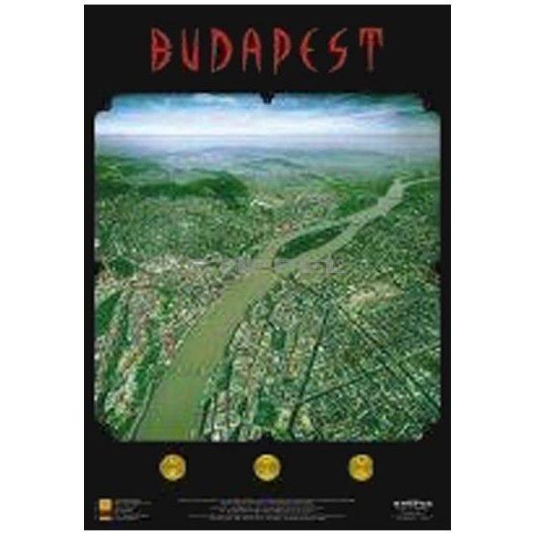 Budapest panorámatérképe, tűzhető, fakeretben