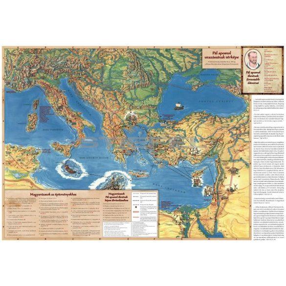 Pál apostol utazásai falitérkép (magyar nyelvű)